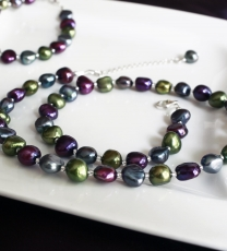 Purple, Green, Peacock Necklace